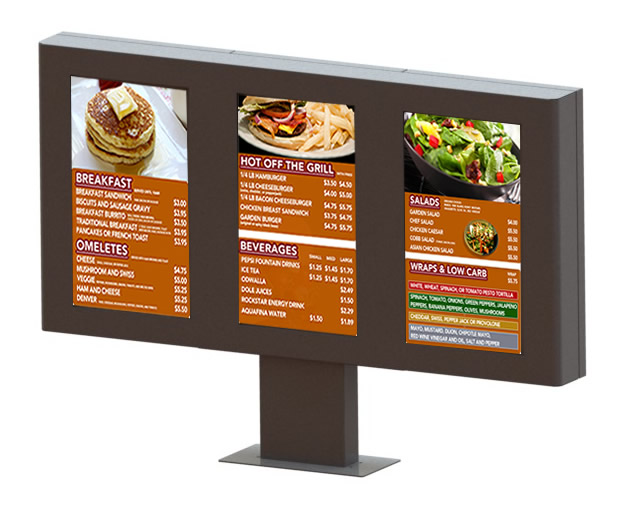 Outdoor Digital Menu Board Enclosure Quick Serve